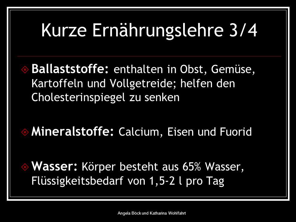Angela Böck und Katharina Wohlfahrt Kurze Ernährungslehre 3/4 Ballaststoffe: enthalten in Obst, Gemüse, Kartoffeln und Vollgetreide; helfen den Cholesterinspiegel zu senken Mineralstoffe: Calcium, Eisen und Fuorid Wasser: Körper besteht aus 65% Wasser, Flüssigkeitsbedarf von 1,5-2 l pro Tag