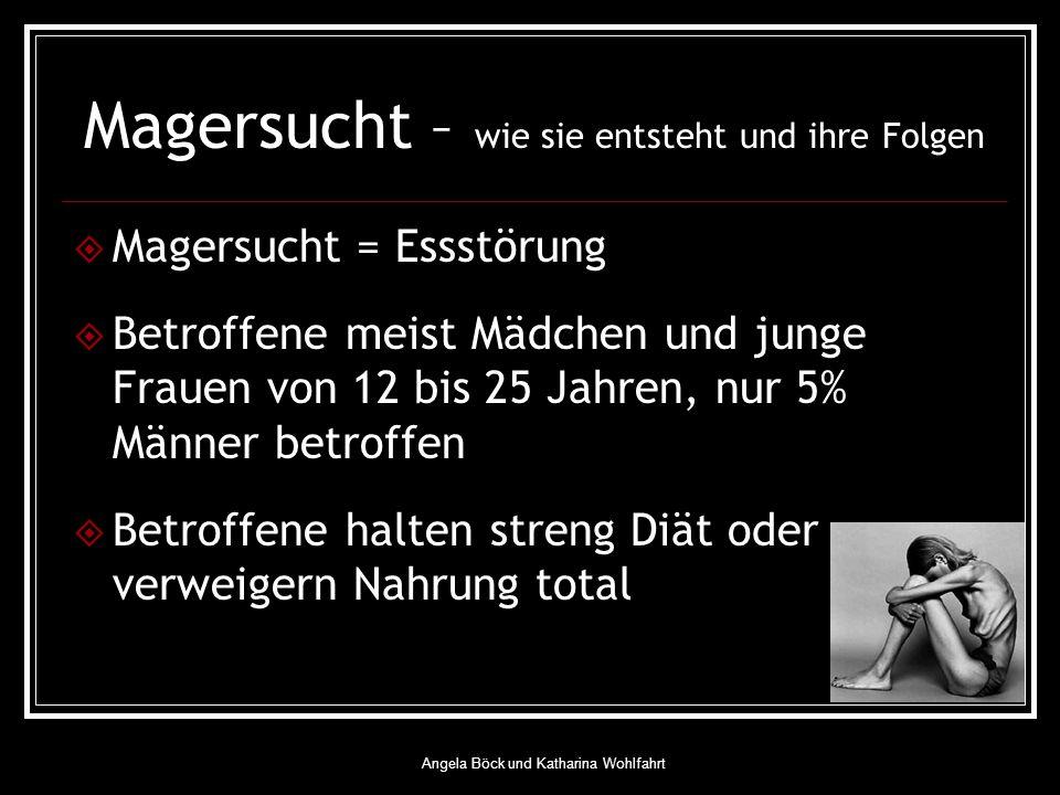 Angela Böck und Katharina Wohlfahrt Magersucht – wie sie entsteht und ihre Folgen Magersucht = Essstörung Betroffene meist Mädchen und junge Frauen von 12 bis 25 Jahren, nur 5% Männer betroffen Betroffene halten streng Diät oder verweigern Nahrung total