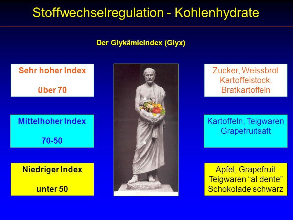 Der Glykämieindex (Glyx) Sehr hoher Index über 70 Mittelhoher Index 70-50 Niedriger Index unter 50 Zucker, Weissbrot Kartoffelstock, Bratkartoffeln Ka