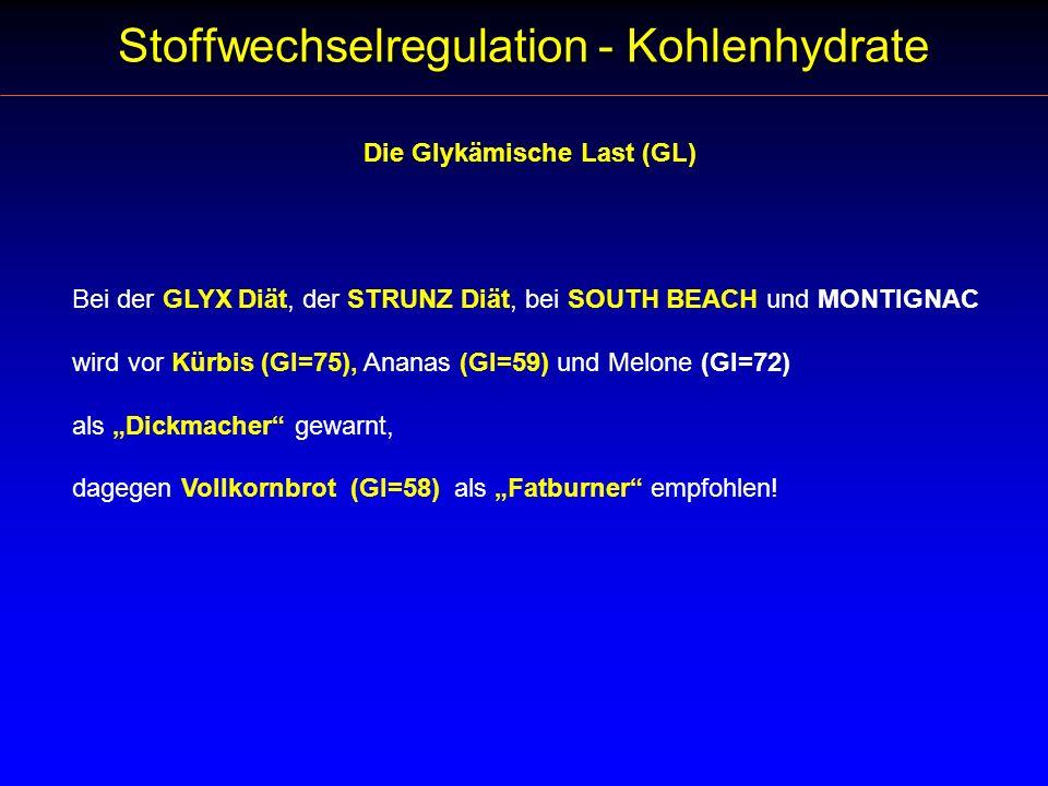 Die Glykämische Last (GL) Stoffwechselregulation - Kohlenhydrate Bei der GLYX Diät, der STRUNZ Diät, bei SOUTH BEACH und MONTIGNAC wird vor Kürbis (GI