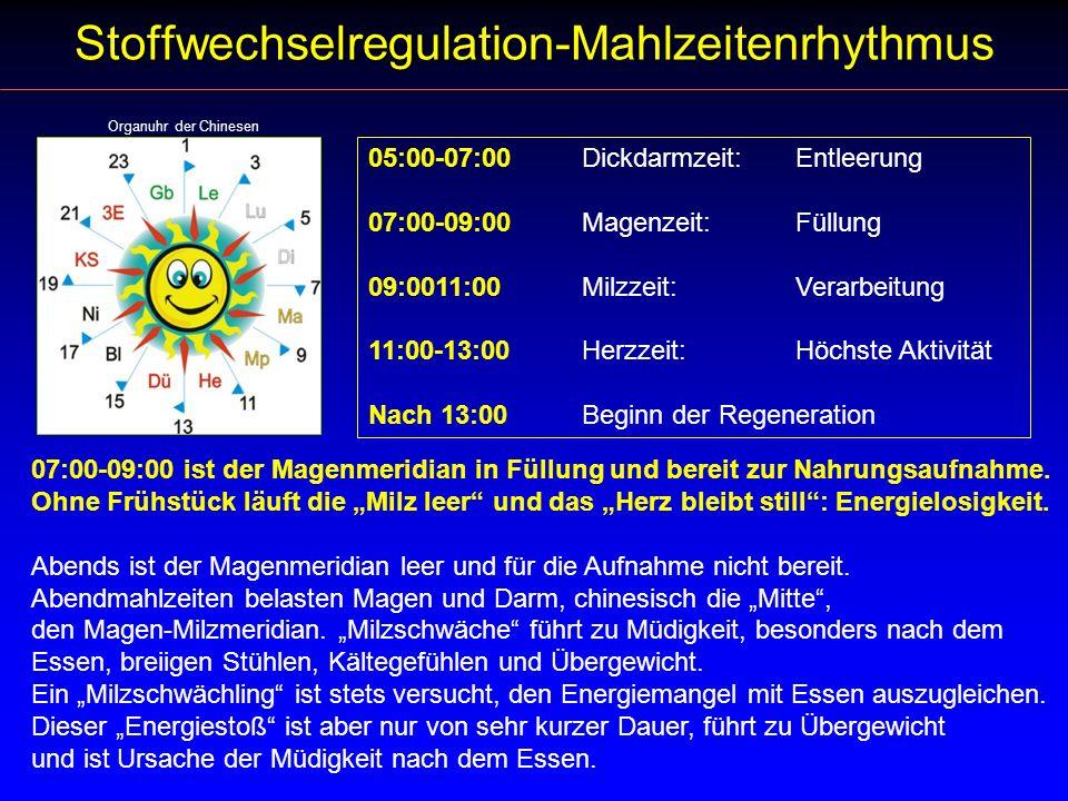 Stoffwechselregulation Stoffwechselregulation-Mahlzeitenrhythmus 05:00-07:00Dickdarmzeit: Entleerung 07:00-09:00Magenzeit: Füllung 09:0011:00Milzzeit: