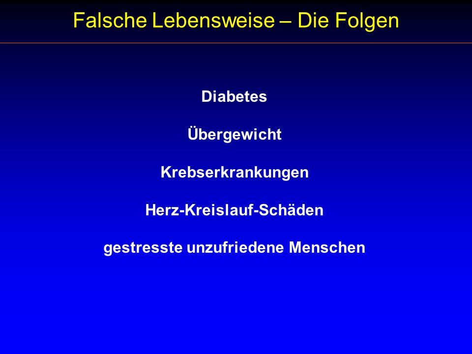 Diabetes Übergewicht Krebserkrankungen Herz-Kreislauf-Schäden gestresste unzufriedene Menschen Falsche Lebensweise – Die Folgen