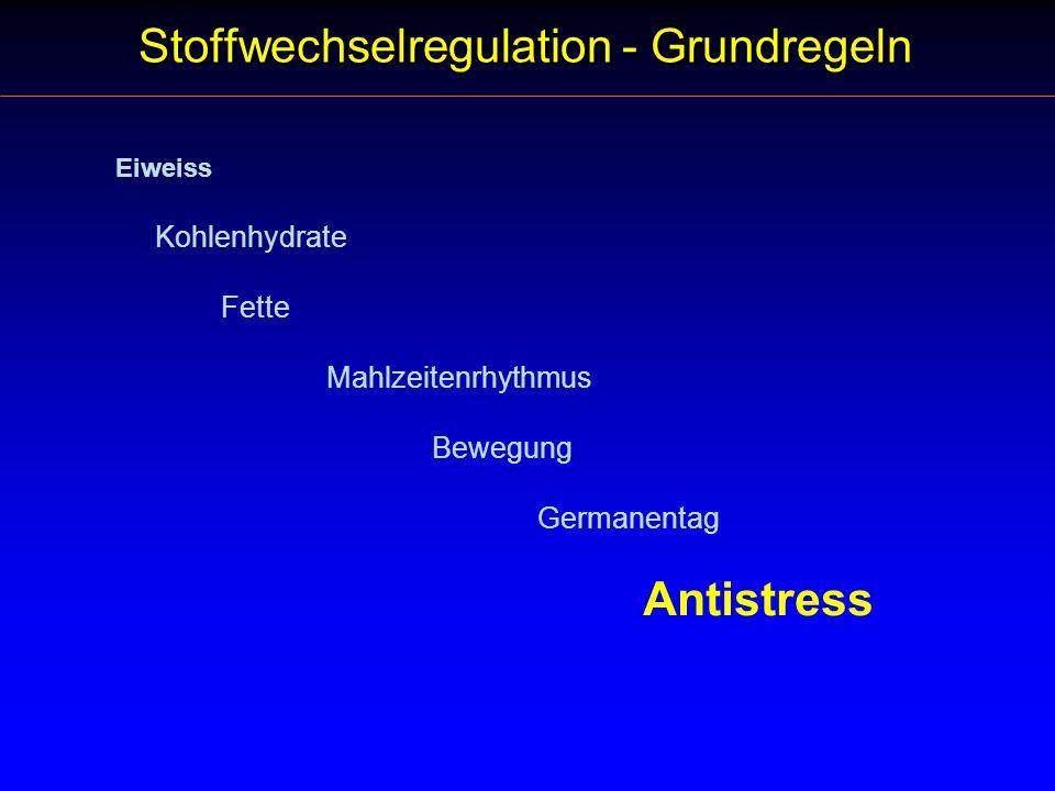 Eiweiss Kohlenhydrate Fette Mahlzeitenrhythmus Bewegung Germanentag Antistress Stoffwechselregulation - Grundregeln