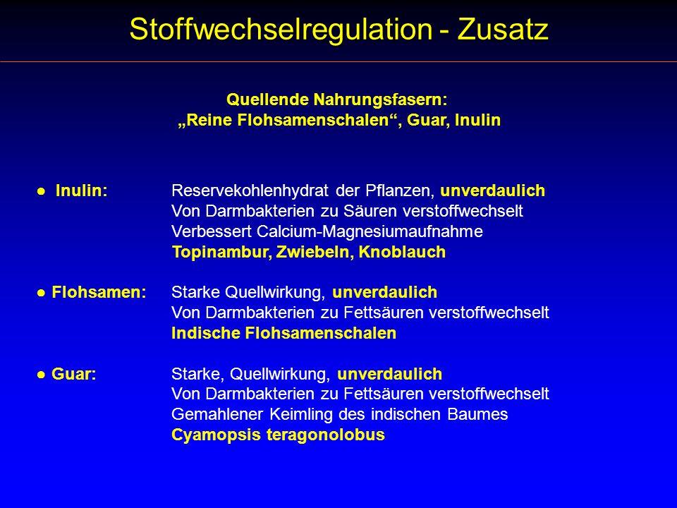 Quellende Nahrungsfasern: Reine Flohsamenschalen, Guar, Inulin Inulin:Reservekohlenhydrat der Pflanzen, unverdaulich Von Darmbakterien zu Säuren verst