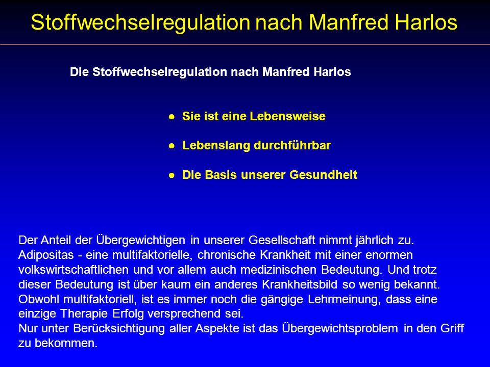 Die Stoffwechselregulation nach Manfred Harlos Sie ist eine Lebensweise Lebenslang durchführbar Die Basis unserer Gesundheit Der Anteil der Übergewich