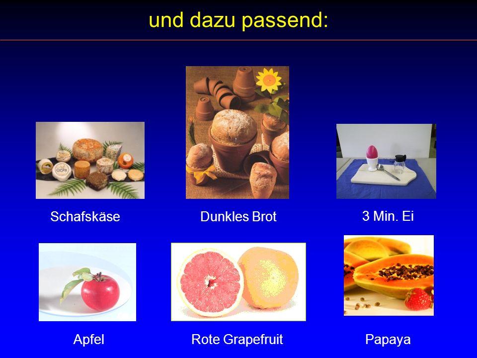und dazu passend: Dunkles Brot Rote Grapefruit Papaya 3 Min. Ei Schafskäse Apfel