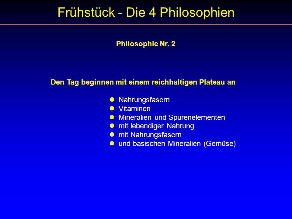 Frühstück - Die 4 Philosophien Philosophie Nr. 2 Den Tag beginnen mit einem reichhaltigen Plateau an Nahrungsfasern Vitaminen Mineralien und Spurenele