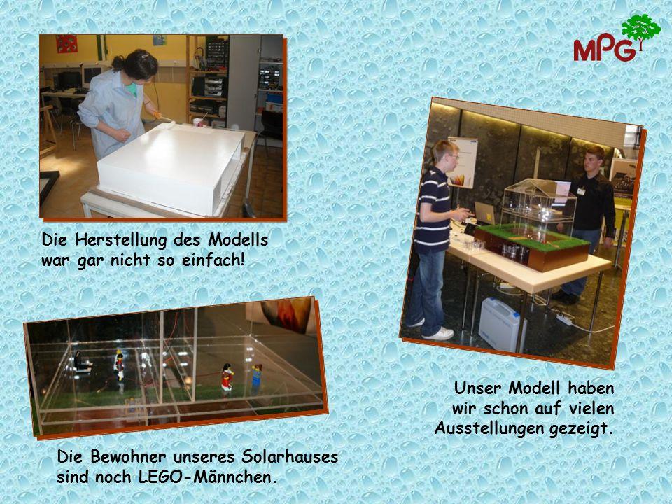 Die Herstellung des Modells war gar nicht so einfach! Die Bewohner unseres Solarhauses sind noch LEGO-Männchen. Unser Modell haben wir schon auf viele