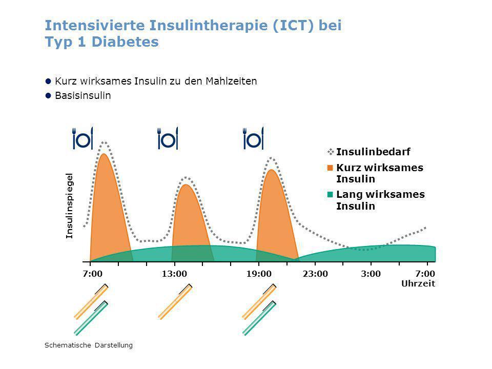 Insulinspiegel Schematische Darstellung Intensivierte Insulintherapie (ICT) bei Typ 1 Diabetes Kurz wirksames Insulin Lang wirksames Insulin Insulinbe