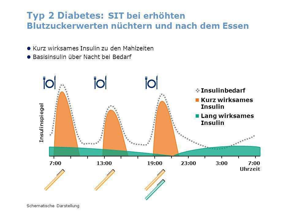 Insulinspiegel Schematische Darstellung Typ 2 Diabetes: SIT bei erhöhten Blutzuckerwerten nüchtern und nach dem Essen Kurz wirksames Insulin Lang wirk
