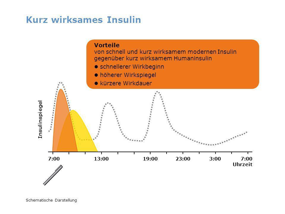 Kurz wirksames Insulin Schematische Darstellung Vorteile von schnell und kurz wirksamem modernen Insulin gegenüber kurz wirksamem Humaninsulin schnell