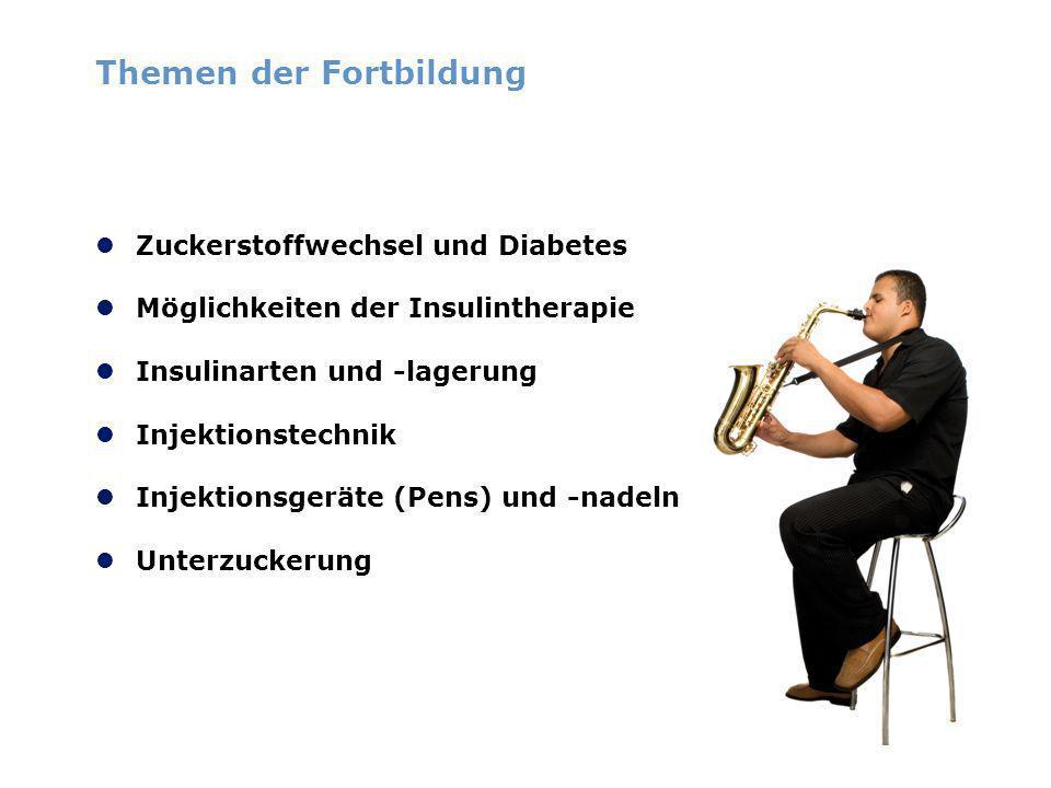 Themen der Fortbildung Zuckerstoffwechsel und Diabetes Möglichkeiten der Insulintherapie Insulinarten und -lagerung Injektionstechnik Injektionsgeräte