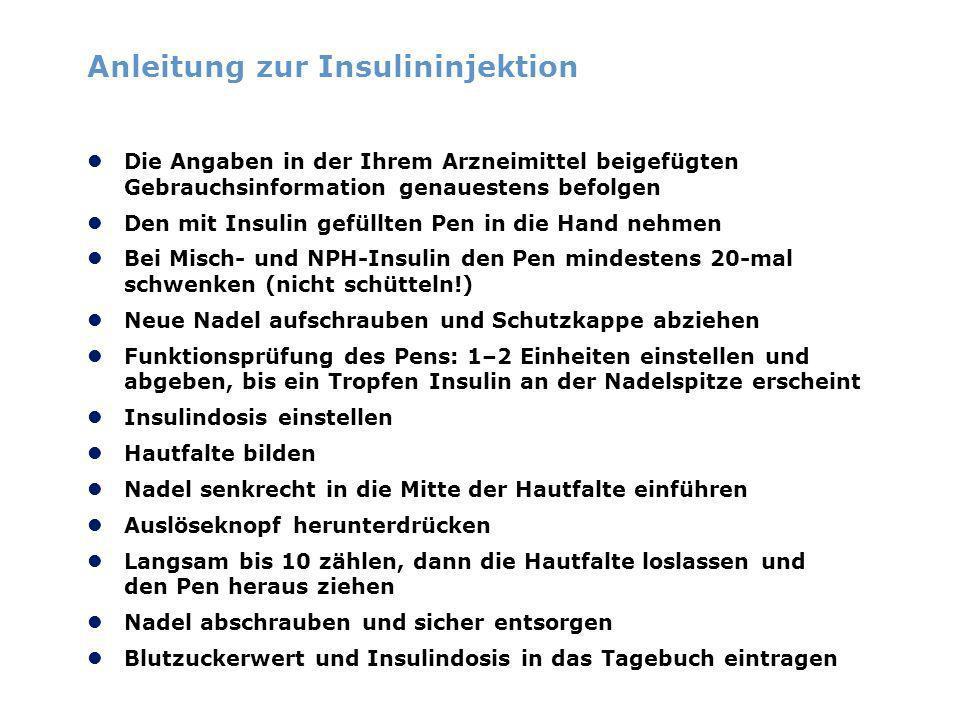 Anleitung zur Insulininjektion Die Angaben in der Ihrem Arzneimittel beigefügten Gebrauchsinformation genauestens befolgen Den mit Insulin gefüllten P