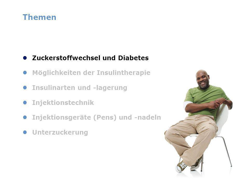 Themen Zuckerstoffwechsel und Diabetes Möglichkeiten der Insulintherapie Insulinarten und -lagerung Injektionstechnik Injektionsgeräte (Pens) und -nadeln Unterzuckerung