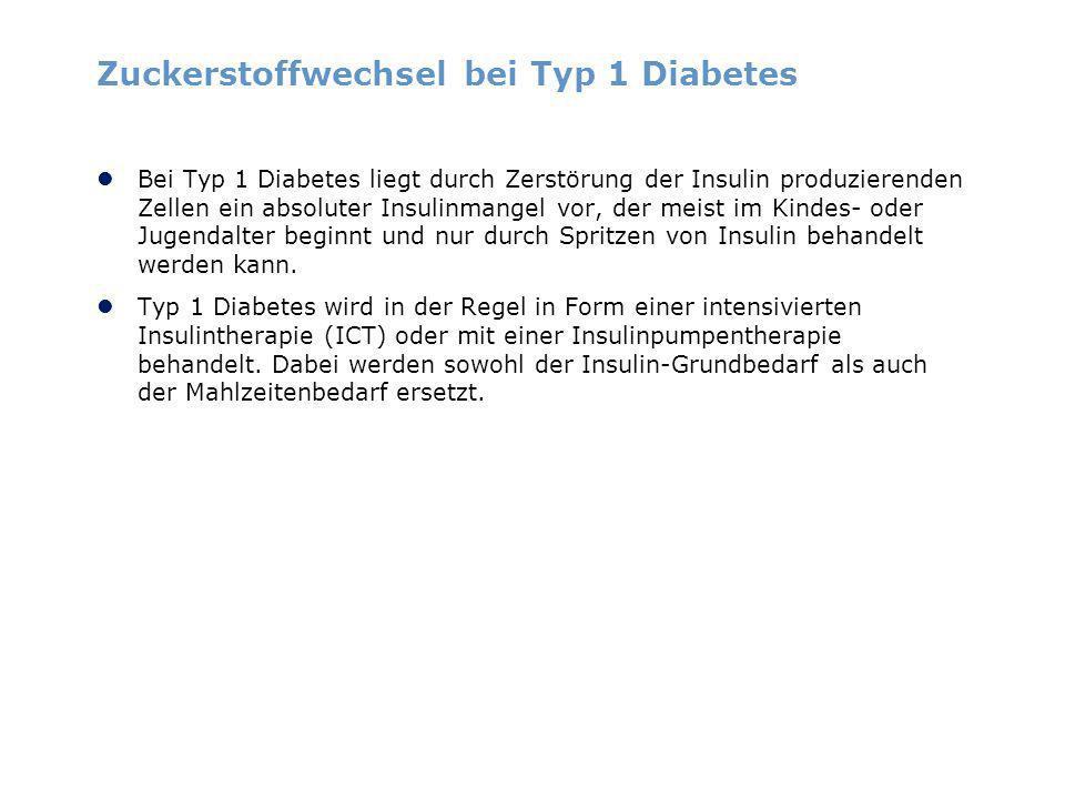 Zuckerstoffwechsel bei Typ 1 Diabetes Bei Typ 1 Diabetes liegt durch Zerstörung der Insulin produzierenden Zellen ein absoluter Insulinmangel vor, der