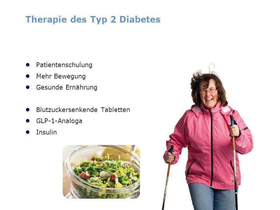 Therapie des Typ 2 Diabetes Patientenschulung Mehr Bewegung Gesunde Ernährung Blutzuckersenkende Tabletten GLP-1-Analoga Insulin
