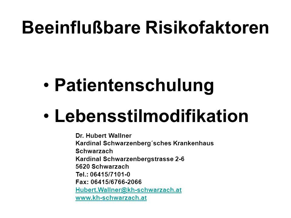 Patientenschulung Lebensstilmodifikation Beeinflußbare Risikofaktoren Dr.