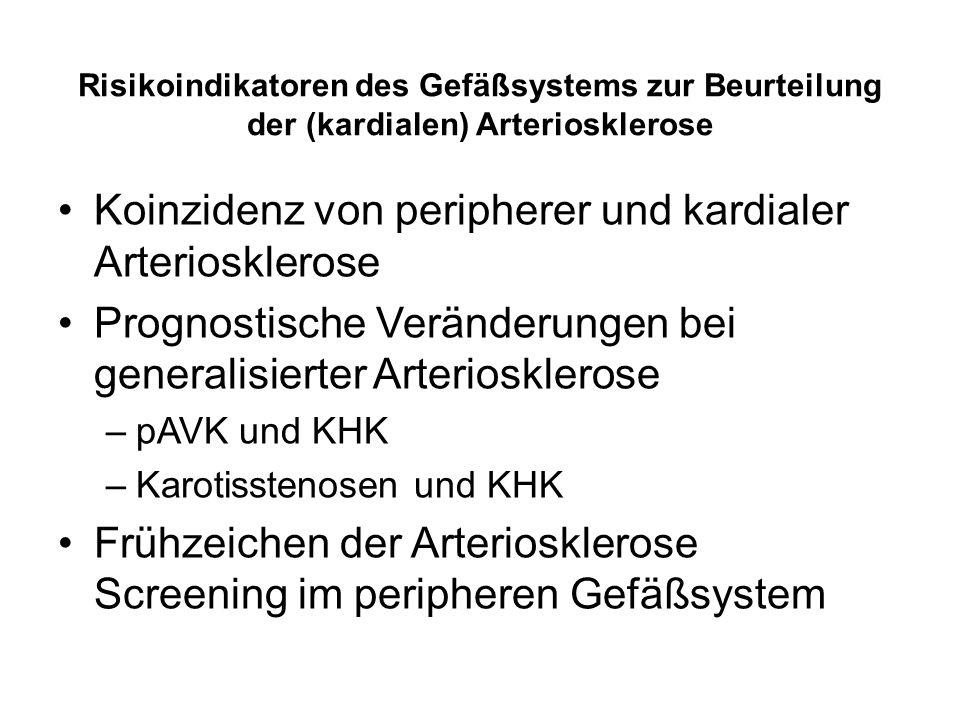Risikoindikatoren des Gefäßsystems zur Beurteilung der (kardialen) Arteriosklerose Koinzidenz von peripherer und kardialer Arteriosklerose Prognostische Veränderungen bei generalisierter Arteriosklerose –pAVK und KHK –Karotisstenosen und KHK Frühzeichen der Arteriosklerose Screening im peripheren Gefäßsystem