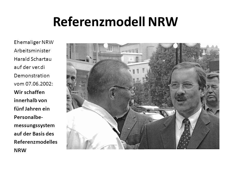 Referenzmodell NRW Ehemaliger NRW Arbeitsminister Harald Schartau auf der ver.di Demonstration vom 07.06.2002: Wir schaffen innerhalb von fünf Jahren ein Personalbe- messungssystem auf der Basis des Referenzmodelles NRW