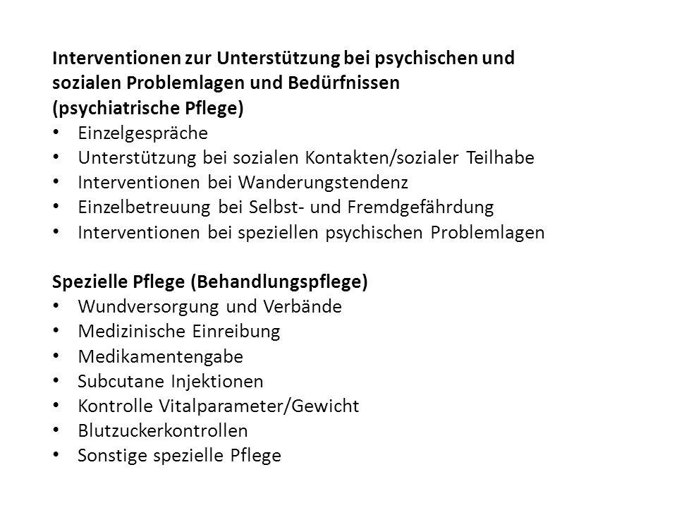 Interventionen zur Unterstützung bei psychischen und sozialen Problemlagen und Bedürfnissen (psychiatrische Pflege) Einzelgespräche Unterstützung bei sozialen Kontakten/sozialer Teilhabe Interventionen bei Wanderungstendenz Einzelbetreuung bei Selbst- und Fremdgefährdung Interventionen bei speziellen psychischen Problemlagen Spezielle Pflege (Behandlungspflege) Wundversorgung und Verbände Medizinische Einreibung Medikamentengabe Subcutane Injektionen Kontrolle Vitalparameter/Gewicht Blutzuckerkontrollen Sonstige spezielle Pflege