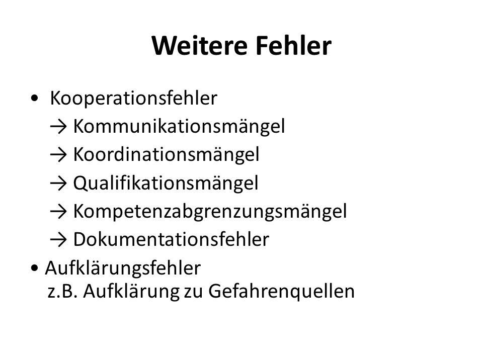 Weitere Fehler Kooperationsfehler Kommunikationsmängel Koordinationsmängel Qualifikationsmängel Kompetenzabgrenzungsmängel Dokumentationsfehler Aufklärungsfehler z.B.