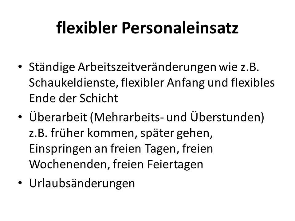 flexibler Personaleinsatz Ständige Arbeitszeitveränderungen wie z.B.