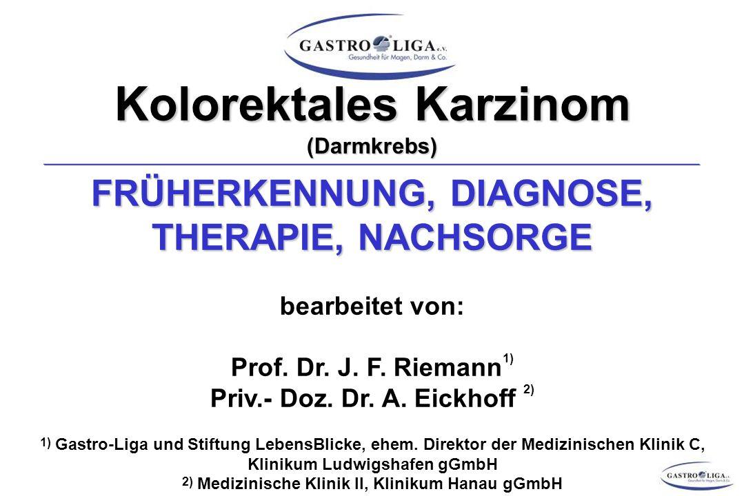 DARMKREBS – THERAPIE ADJUVANTE CHEMOTHERAPIE (KOLON-CA) I Ziel: Reduktion der Rezidivrate (mikroskopische Metastasierung!) Ziel: Reduktion der Rezidivrate (mikroskopische Metastasierung!) Voraussetzungen: Voraussetzungen: - R0-Resektion - R0-Resektion - Chemotherapeutika mit hoher Ansprechrate für Tumor (>50 %) - Chemotherapeutika mit hoher Ansprechrate für Tumor (>50 %) - Beginn innerhalb 6 Wochen postoperativ - Beginn innerhalb 6 Wochen postoperativ Kontraindikationen: (Auswahl) Kontraindikationen: (Auswahl) - Leberzirrhose Child Pugh B und C - Leberzirrhose Child Pugh B und C - Herzinsuffizienz NYHA III/IV - Herzinsuffizienz NYHA III/IV - (prä-)terminale Niereninsuffizienz - (prä-)terminale Niereninsuffizienz Alter ist KEINE Kontraindikation.