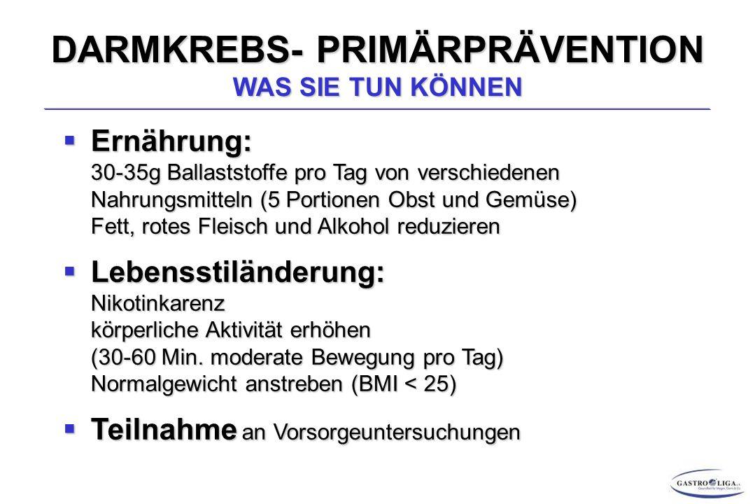 DARMKREBS – THERAPIE Endoskopische Resektion Prognostisch und technisch möglich bei kolorektalen T1-Karzinomen die Mukosa oder maximal die Submukosa infiltrieren Techniken:Endoskopische-Mukosa-Resektion (EMR) Endoskopische-Submukosa-Dissektion (ESD) 3% 8% 23% LK- Metastasen Prognostische Grenze der ER: T1-sm2 !