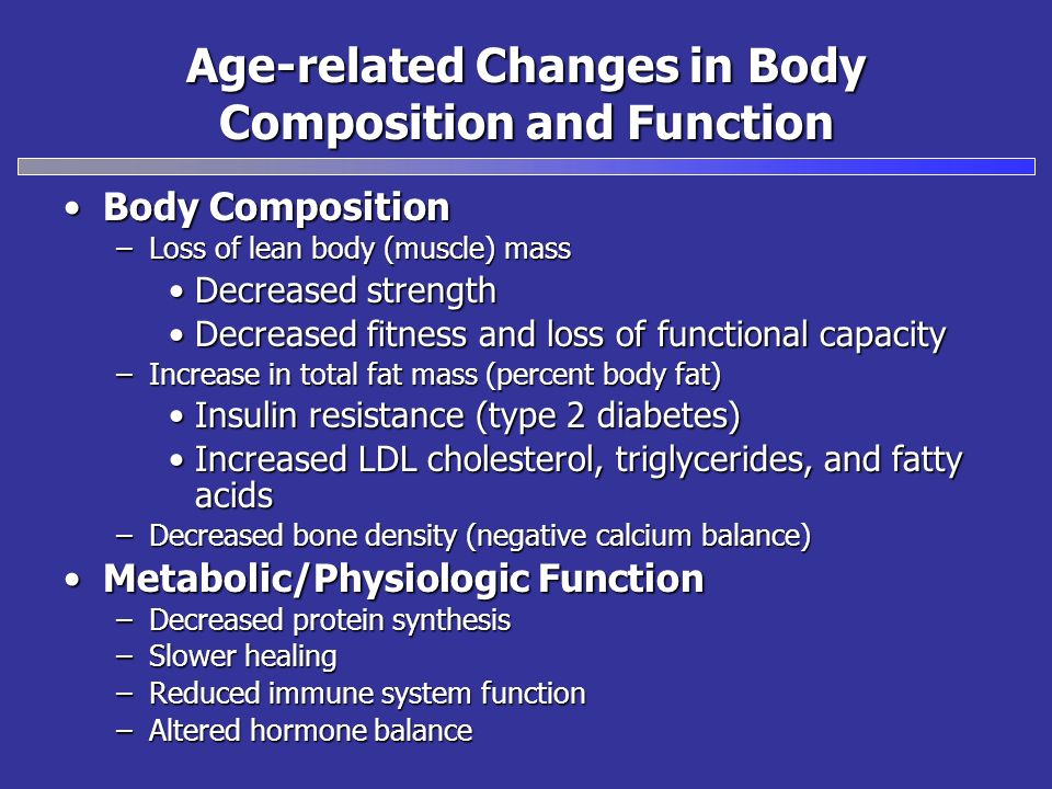 Body CompositionBody Composition –Loss of lean body (muscle) mass Decreased strengthDecreased strength Decreased fitness and loss of functional capaci
