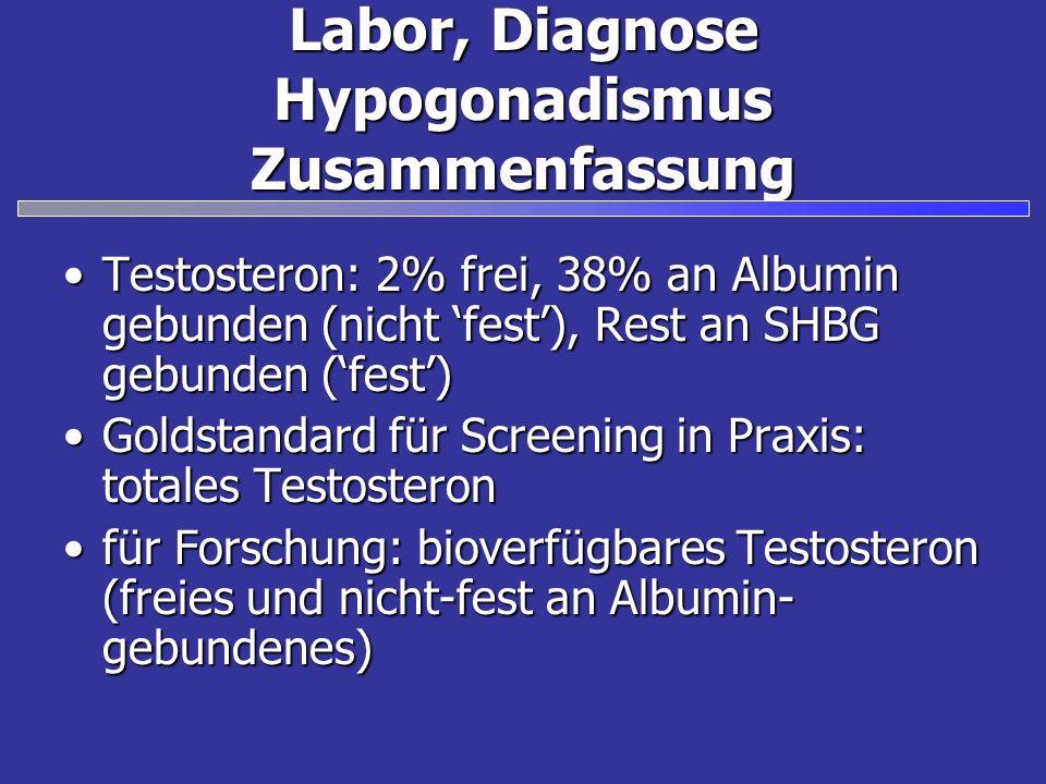Labor, Diagnose Hypogonadismus Zusammenfassung Testosteron: 2% frei, 38% an Albumin gebunden (nicht fest), Rest an SHBG gebunden (fest)Testosteron: 2% frei, 38% an Albumin gebunden (nicht fest), Rest an SHBG gebunden (fest) Goldstandard für Screening in Praxis: totales TestosteronGoldstandard für Screening in Praxis: totales Testosteron für Forschung: bioverfügbares Testosteron (freies und nicht-fest an Albumin- gebundenes)für Forschung: bioverfügbares Testosteron (freies und nicht-fest an Albumin- gebundenes)