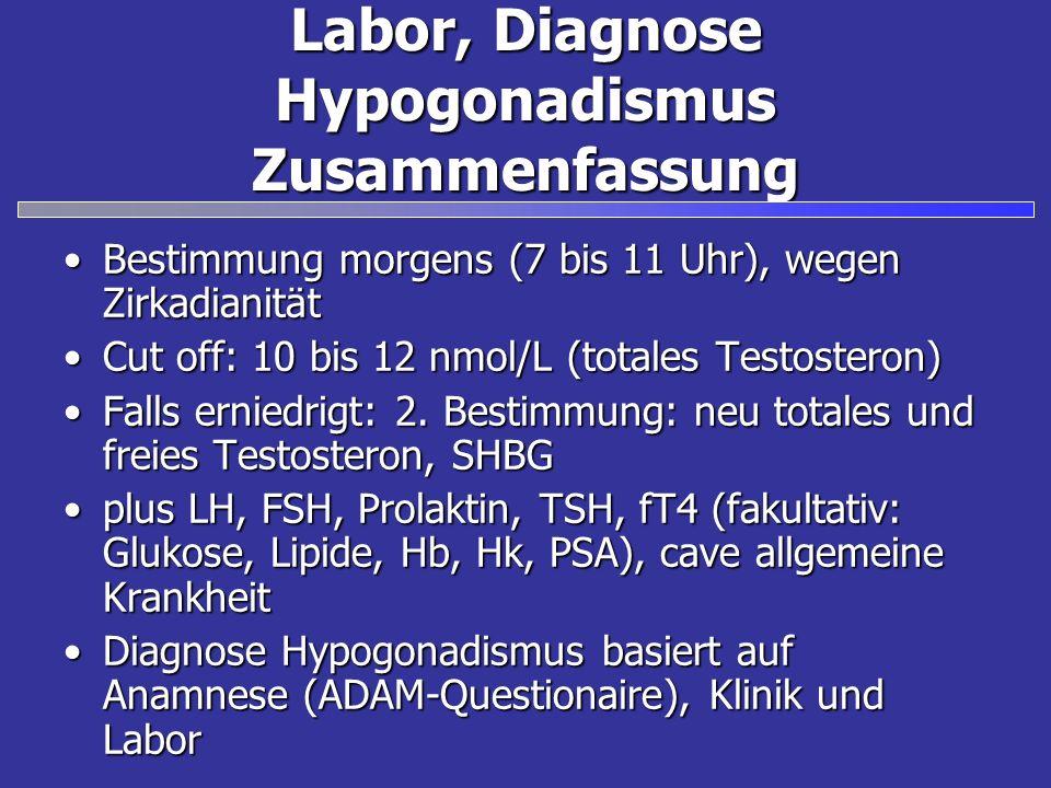 Labor, Diagnose Hypogonadismus Zusammenfassung Bestimmung morgens (7 bis 11 Uhr), wegen ZirkadianitätBestimmung morgens (7 bis 11 Uhr), wegen Zirkadianität Cut off: 10 bis 12 nmol/L (totales Testosteron)Cut off: 10 bis 12 nmol/L (totales Testosteron) Falls erniedrigt: 2.
