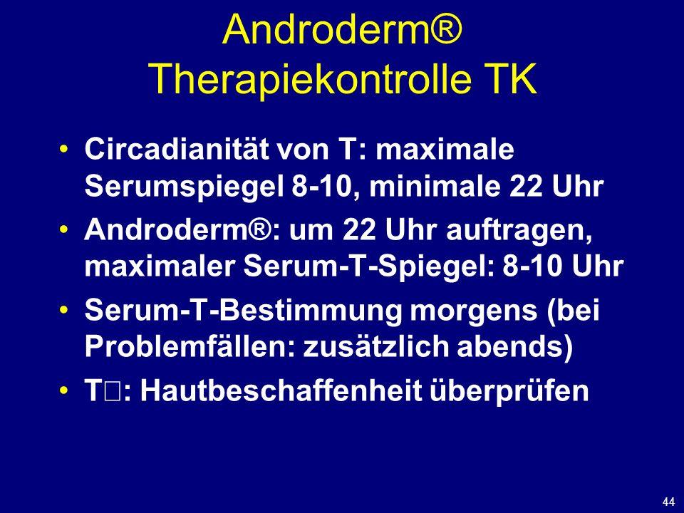 44 Androderm® Therapiekontrolle TK Circadianität von T: maximale Serumspiegel 8-10, minimale 22 Uhr Androderm®: um 22 Uhr auftragen, maximaler Serum-T-Spiegel: 8-10 Uhr Serum-T-Bestimmung morgens (bei Problemfällen: zusätzlich abends) T : Hautbeschaffenheit überprüfen