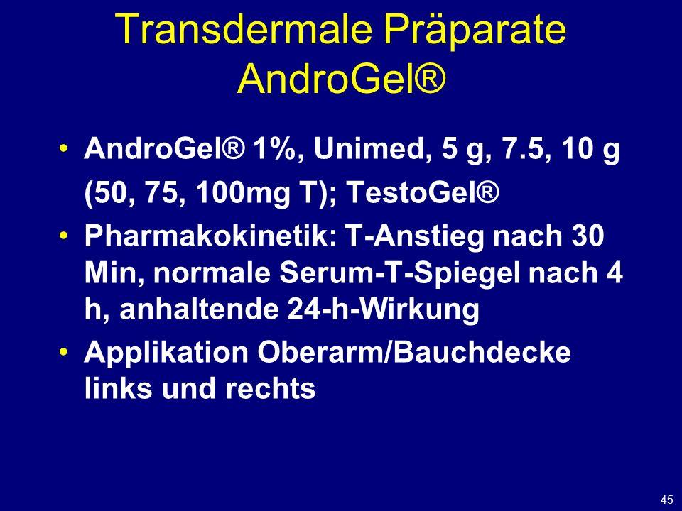 45 Transdermale Präparate AndroGel® AndroGel® 1%, Unimed, 5 g, 7.5, 10 g (50, 75, 100mg T); TestoGel® Pharmakokinetik: T-Anstieg nach 30 Min, normale Serum-T-Spiegel nach 4 h, anhaltende 24-h-Wirkung Applikation Oberarm/Bauchdecke links und rechts