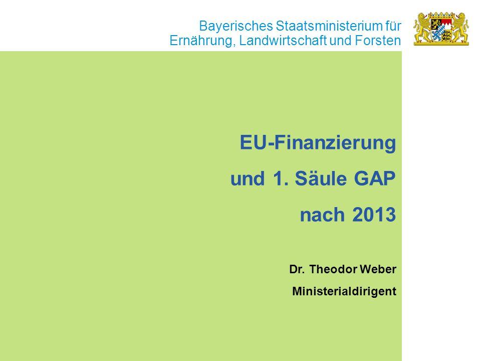 Bayerisches Staatsministerium für Ernährung, Landwirtschaft und Forsten EU-Finanzierung und 1. Säule GAP nach 2013 Dr. Theodor Weber Ministerialdirige