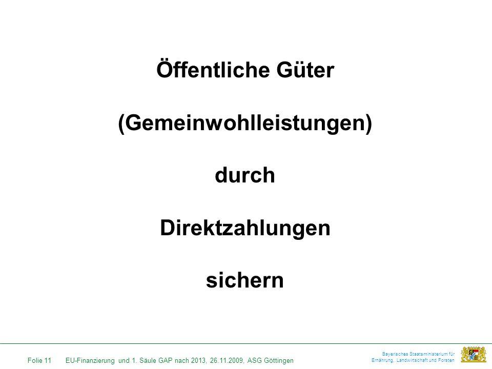 Folie 11EU-Finanzierung und 1. Säule GAP nach 2013, 26.11.2009, ASG Göttingen Bayerisches Staatsministerium für Ernährung, Landwirtschaft und Forsten