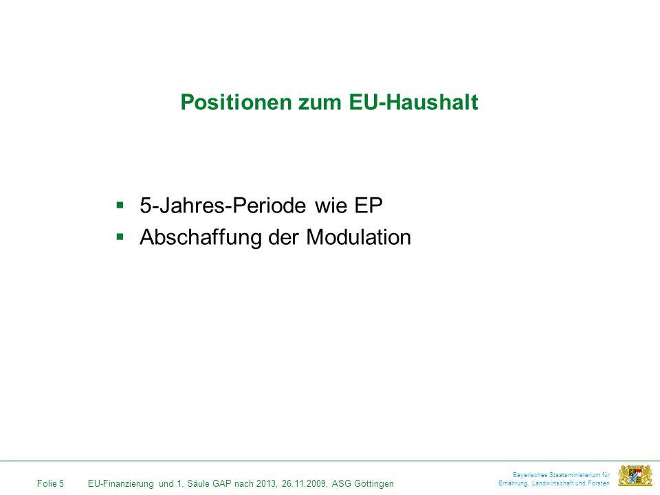 Folie 5EU-Finanzierung und 1. Säule GAP nach 2013, 26.11.2009, ASG Göttingen Bayerisches Staatsministerium für Ernährung, Landwirtschaft und Forsten P