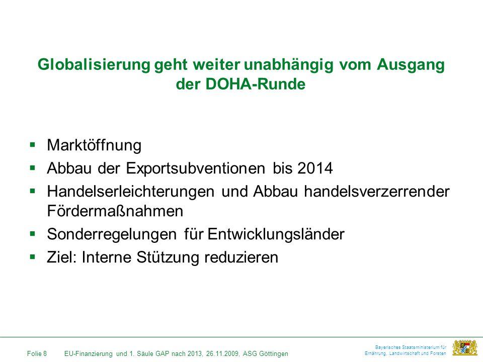 Folie 8EU-Finanzierung und 1. Säule GAP nach 2013, 26.11.2009, ASG Göttingen Bayerisches Staatsministerium für Ernährung, Landwirtschaft und Forsten G