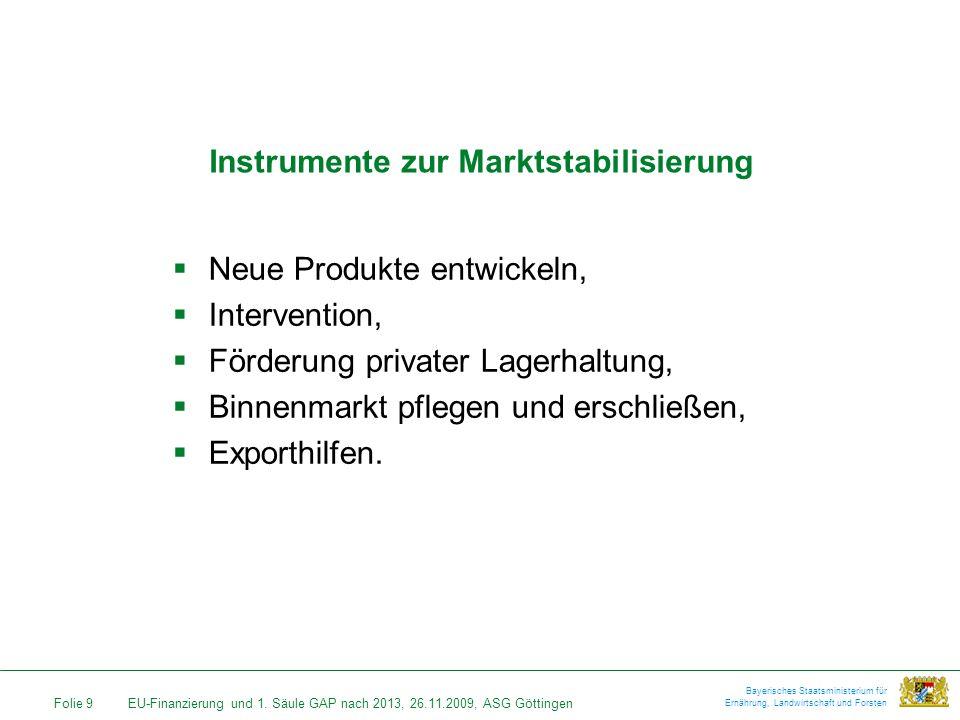 Folie 9EU-Finanzierung und 1. Säule GAP nach 2013, 26.11.2009, ASG Göttingen Bayerisches Staatsministerium für Ernährung, Landwirtschaft und Forsten I