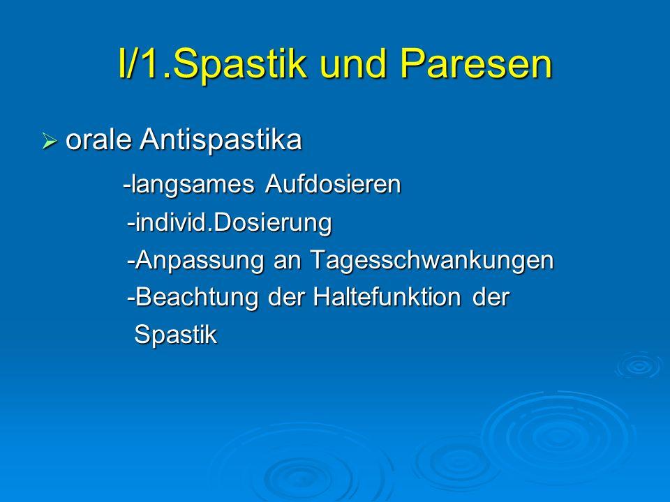I/1.Spastik und Paresen orale Antispastika orale Antispastika -langsames Aufdosieren -langsames Aufdosieren -individ.Dosierung -individ.Dosierung -Anp