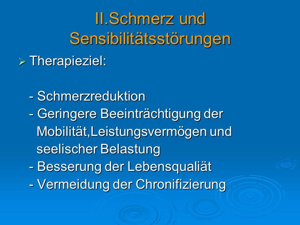 II.Schmerz und Sensibilitätsstörungen Therapieziel: Therapieziel: - Schmerzreduktion - Schmerzreduktion - Geringere Beeinträchtigung der - Geringere B