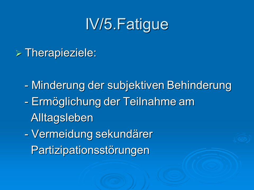 IV/5.Fatigue Therapieziele: Therapieziele: - Minderung der subjektiven Behinderung - Minderung der subjektiven Behinderung - Ermöglichung der Teilnahm