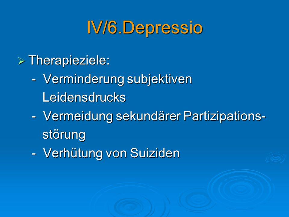 IV/6.Depressio Therapieziele: Therapieziele: - Verminderung subjektiven - Verminderung subjektiven Leidensdrucks Leidensdrucks - Vermeidung sekundärer