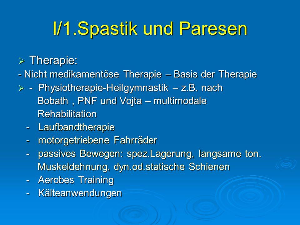 I/1.Spastik und Paresen Therapie: Therapie: - Nicht medikamentöse Therapie – Basis der Therapie - Physiotherapie-Heilgymnastik – z.B. nach - Physiothe