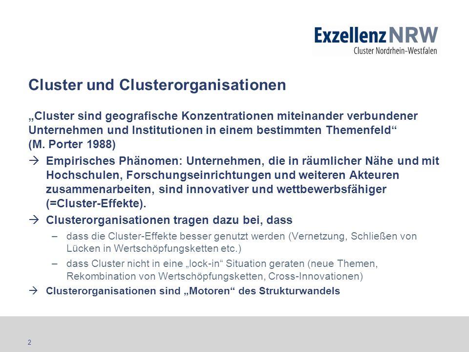 2 Cluster und Clusterorganisationen Cluster sind geografische Konzentrationen miteinander verbundener Unternehmen und Institutionen in einem bestimmte