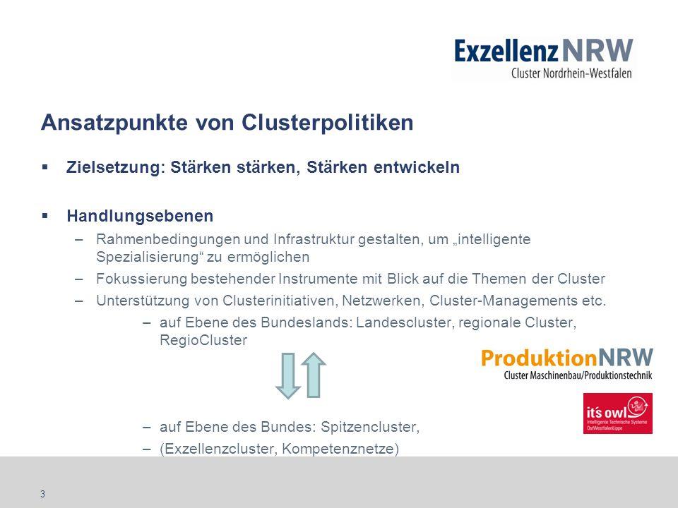 3 Ansatzpunkte von Clusterpolitiken Zielsetzung: Stärken stärken, Stärken entwickeln Handlungsebenen –Rahmenbedingungen und Infrastruktur gestalten, u