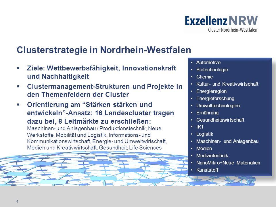 4 Clusterstrategie in Nordrhein-Westfalen Ziele: Wettbewerbsfähigkeit, Innovationskraft und Nachhaltigkeit Clustermanagement-Strukturen und Projekte i