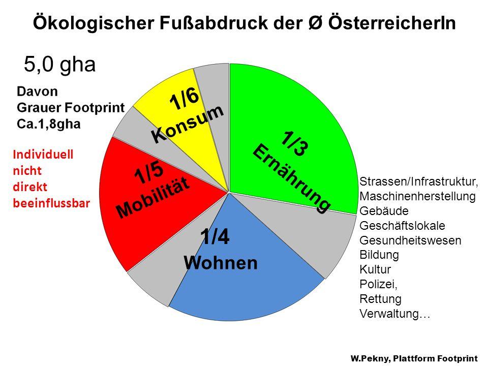 Ernährung Konsum Mobilität Wohnen 1/3 1/4 1/6 1/5 Ökologischer Fußabdruck der Ø ÖsterreicherIn 5,0 gha W.Pekny, Plattform Footprint Individuell nicht