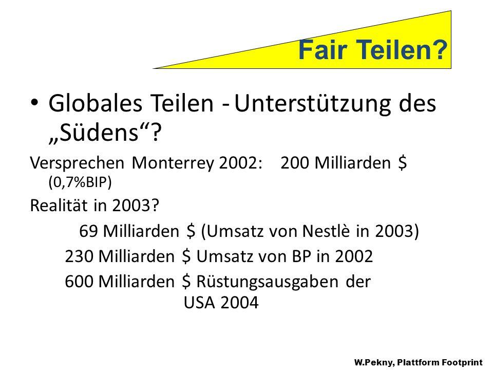 Globales Teilen - Unterstützung des Südens? Versprechen Monterrey 2002: 200 Milliarden $ (0,7%BIP) Realität in 2003? 69 Milliarden $ (Umsatz von Nestl