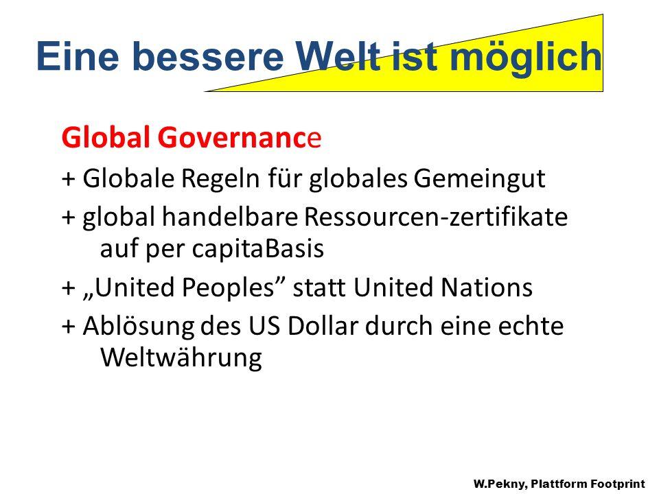 Global Governance + Globale Regeln für globales Gemeingut + global handelbare Ressourcen-zertifikate auf per capitaBasis + United Peoples statt United