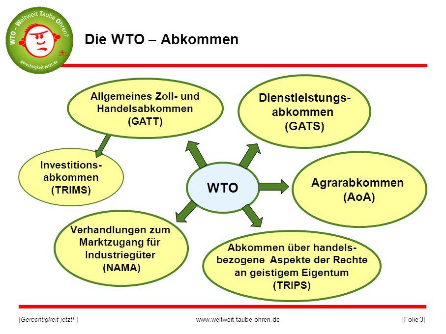 [Gerechtigkeit jetzt! ]www.weltweit-taube-ohren.de[Folie 3] Investitions- abkommen (TRIMS) WTO Verhandlungen zum Marktzugang für Industriegüter (NAMA)